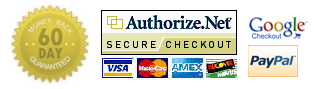 We accept Paypal, Google Checkout, and major credit cards: Visa, Mastercard, American Express, and Discover